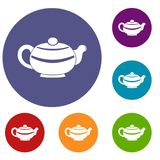 Chinese teapot icons set Royalty Free Stock Photography