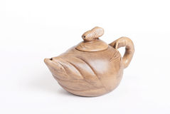 Chinese teapot made of light beige clay Royalty Free Stock Images