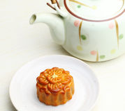 Chinese teapot with moon cake Royalty Free Stock Image
