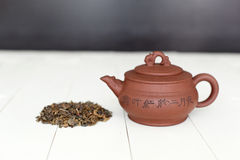 Chinese teapot and pile of green tea Stock Photography