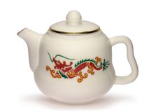 Chinese Teapot with Red Dragon Stock Photos