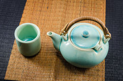 Chinese teapot and teacups Royalty Free Stock Photo