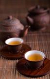 Chinese teapot and teacups Stock Photos