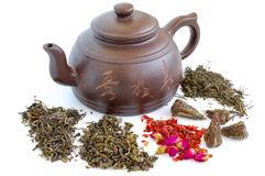 Chinese teapot and teas stock image