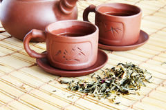Chinese teapot, two cups and tea Royalty Free Stock Photography