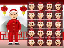 Chinese Teen Boy Cartoon Emotion faces Vector Illustration Royalty Free Stock Photography