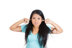 Chinese teenager frustrated with noise Royalty Free Stock Images
