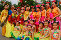 Chinese teens and children. With traditional outfits during Chinese New Year Open House Celebration 2012 in Kuala Lumpur, Malaysia Royalty Free Stock Photography