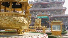 Chinese tempel Ang Force in Pattaya Mooie originele tempel in Chinese stijl Oostelijk ornament met draken en stock footage