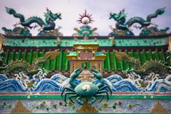 Chinese tempel bij Chinees visserijdorp in Pulau Ketam dichtbij Klang Selangor Maleisië Royalty-vrije Stock Foto
