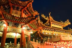 Chinese Tempel bij Nacht Royalty-vrije Stock Fotografie