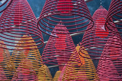 Chinese temple. Cones incense burners, hooked from a ceiling of a Chinese temple stock photo