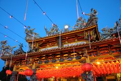 Chinese Temple. An image showing a Chinese temple in the night view Royalty Free Stock Photography