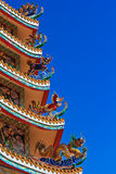 Chinese temple. A part of roof at Chinese temple in Thailand Royalty Free Stock Photo