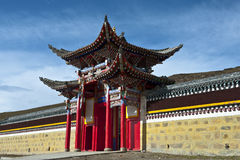 Chinese temple. Entrance of chinese temple against blue sky Stock Photo
