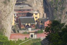 Chinese temple. An old Chinese temple lying in the mid-slope of a mountain.Shot in Yan-Dang hill Stock Photo