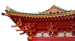 Chinese temple. Roof of a Chinese temple, isolated on white Stock Image