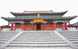 Chinese temple. With grand main hall on the mountains royalty free stock images