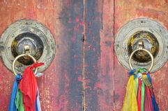 Chinese temple architecture metal door knocker Royalty Free Stock Image