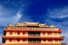 Chinese temple in Bangkok, Thailand. Chinese temple in Bangkok, Thailand, against beautiful blue sky background Stock Photos