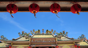 Chinese Temple. With blue background royalty free stock photography