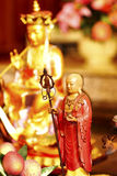 Chinese Temple Buddha. Golden buddha statue in Chinese temple, Mercy Temple enlightenment, Kanchanaburi stock photography
