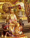 Chinese Temple Buddha. Golden buddha statue in Chinese temple, Mercy Temple enlightenment, Kanchanaburi royalty free stock photos