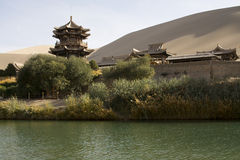 Chinese temple in desert Royalty Free Stock Image