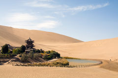 Chinese temple in desert, Mingsha Shan, Dunhuang, China Stock Photos