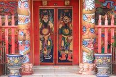 Chinese temple door. Door god Royalty Free Stock Photos