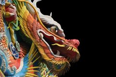 Chinese temple dragon. Dragon side view in an Asian temple Stock Photography
