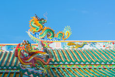 Chinese temple. Dragon sculpture on the roof of a Chinese temple royalty free stock images