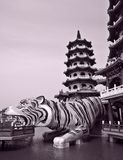 Chinese Temple: The dragon and tiger pagodas Stock Images