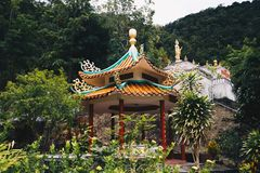 Chinese Temple in the forest of Thailand stock image