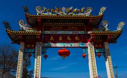 Chinese temple gate. With blue sky background stock images