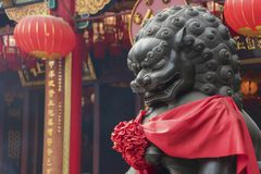 Chinese temple in Hong Kong, China. Chinese Lion statue in Wong Tai Sin Temple in Hong Kong royalty free stock photo