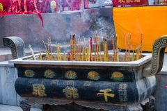 Chinese temple incense burner. Blessing culture Stock Photos