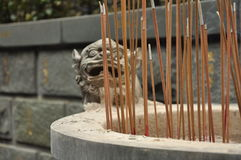 Chinese temple incense and dragon sculpture detail Stock Image