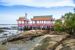 Chinese temple inside the sea stock image