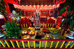 Chinese temple interior. Photo of chinese temple interior on chinese new years eve Royalty Free Stock Image