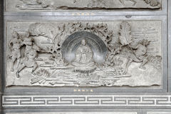 Chinese temple marble goddess carving Stock Photo