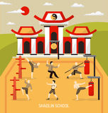 Chinese Temple Martial Arts Composition Stock Image
