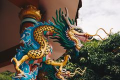 Dragon Statue in the Chinese temple of Thailand stock image