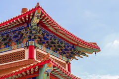 Chinese temple in the morning with cloudy skies. Chinese temple in the morning with cloudy skies in sunhine day Royalty Free Stock Photos