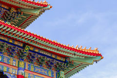 Chinese temple in the morning with cloudy skies. Chinese temple in the morning with cloudy skies in sunhine day Royalty Free Stock Photo