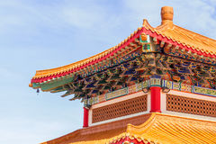 Chinese temple in the morning with cloudy skies. Chinese temple in the morning with cloudy skies in sunhine day Royalty Free Stock Photography