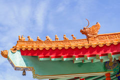 Chinese temple in the morning with cloudy skies. Chinese temple in the morning with cloudy skies in sunhine day Royalty Free Stock Image