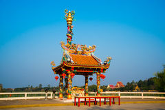 Chinese temple near lake in Thailand. Stock Image