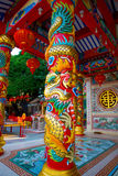 Chinese temple near lake in Thailand. Royalty Free Stock Image