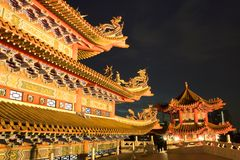 Chinese Temple at Night Royalty Free Stock Photos